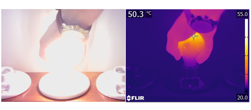 Thermal image, holding the Graphene Lighting light bulb.