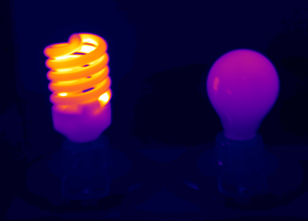 Thermal images of the Graphene Lighting bulb and a CFL light bulb.